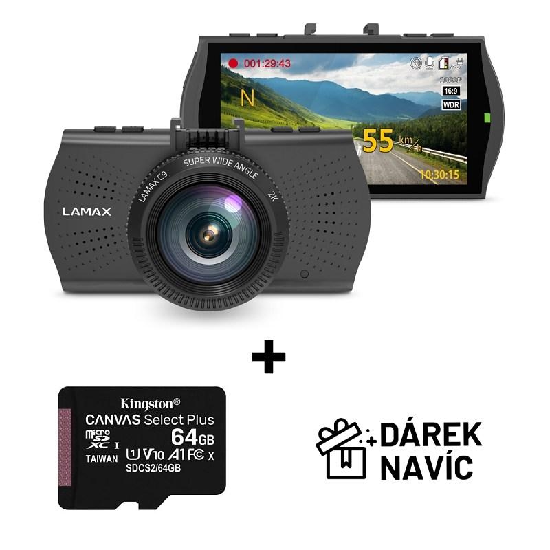 LAMAX C9 GPS + Kingston 64GB Canvas Select Plus 100R A1 C10 - kamera do auta